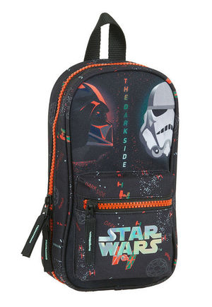 PLUMIER MOCHILA CON 4 PORTATODOS VACIOS STAR WARS THE DARK S