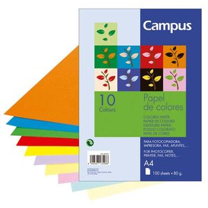 PAPEL A4 CAMPUS 80GR. COLOR 100U.