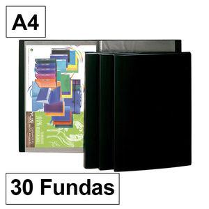 CARPETA FUNDAS PLUS A4 30F NEGRO