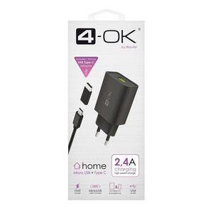 CARGADOR 4-OK 2,4A MICRO USB + TIPO C